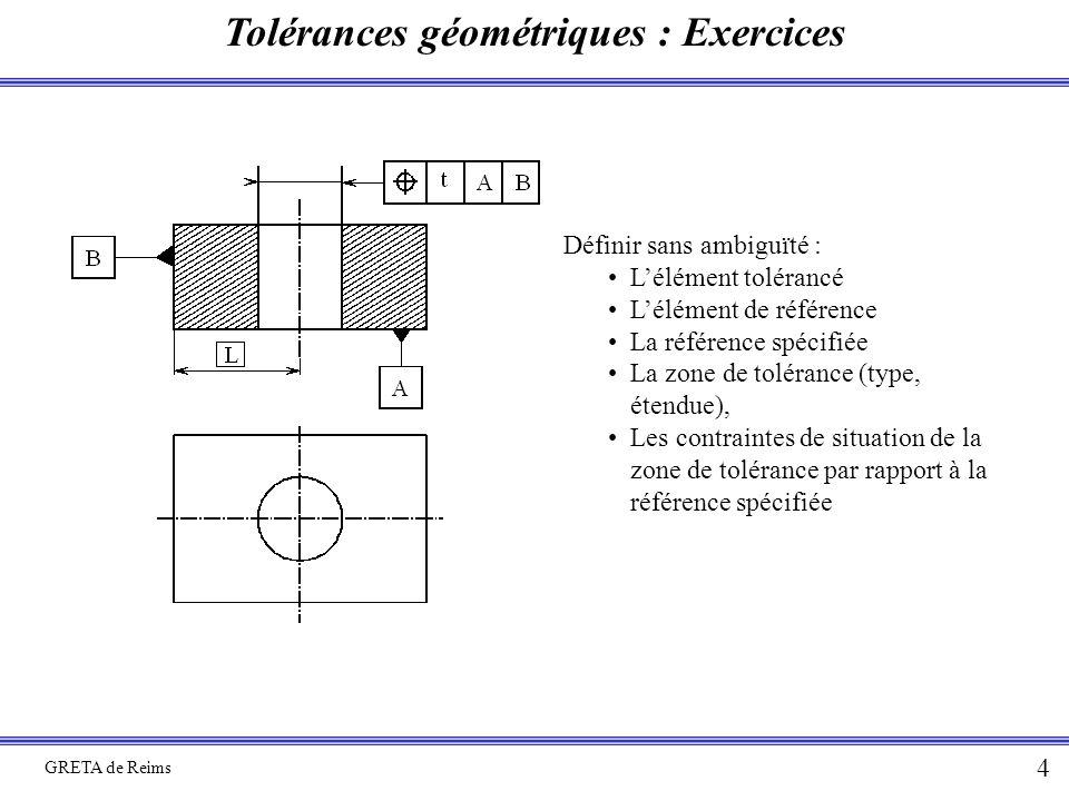 Tolérances géométriques : Exercices GRETA de Reims 4 Définir sans ambiguïté : L'élément tolérancé L'élément de référence La référence spécifiée La zon