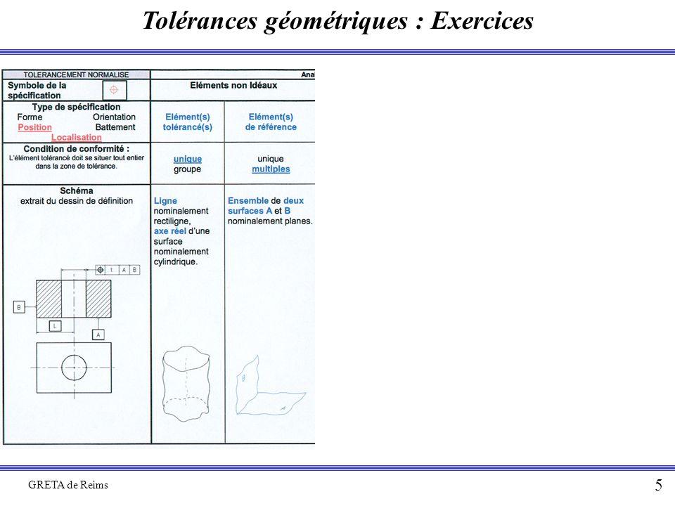 Tolérances géométriques : Exercices GRETA de Reims 5
