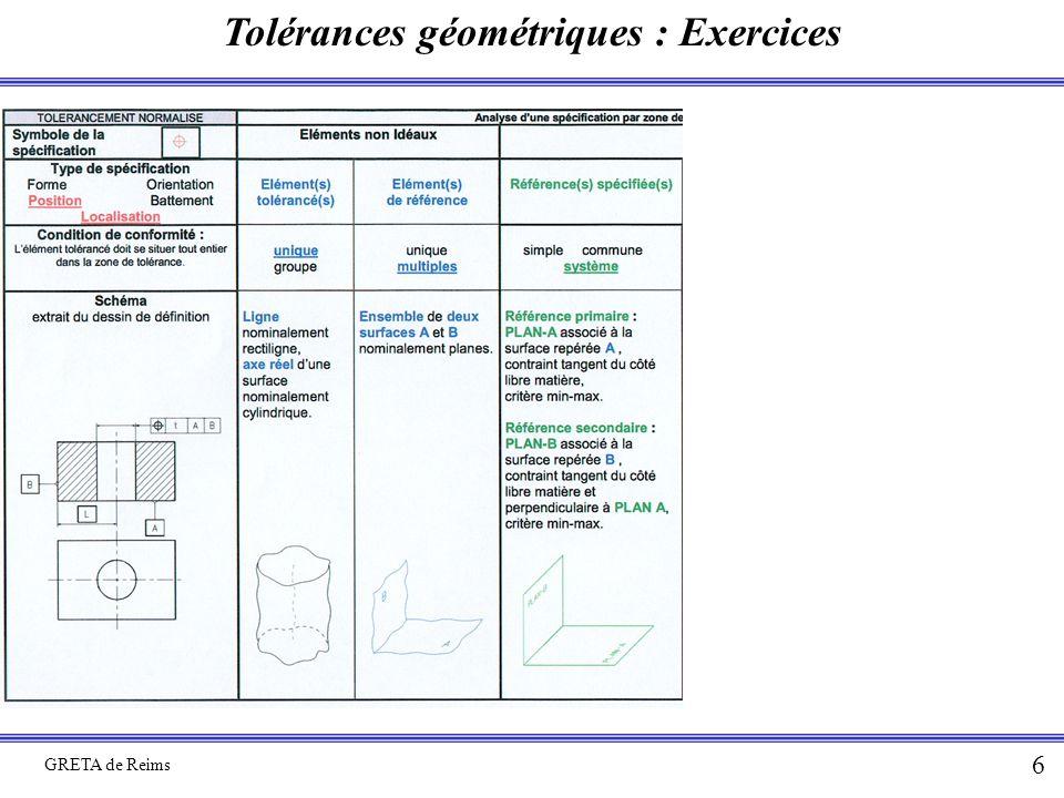 Tolérances géométriques : Exercices GRETA de Reims 6
