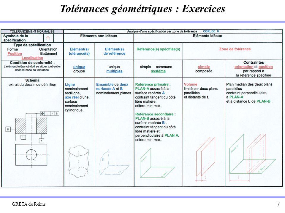 Tolérances géométriques : Exercices GRETA de Reims 7
