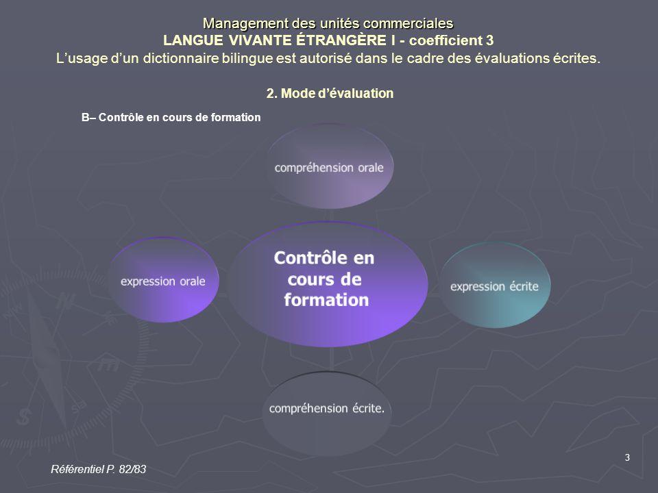 3 Management des unités commerciales Management des unités commerciales LANGUE VIVANTE ÉTRANGÈRE I - coefficient 3 L'usage d'un dictionnaire bilingue est autorisé dans le cadre des évaluations écrites.