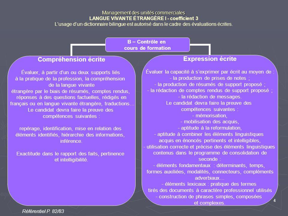 4 Management des unités commerciales Management des unités commerciales LANGUE VIVANTE ÉTRANGÈRE I - coefficient 3 L'usage d'un dictionnaire bilingue est autorisé dans le cadre des évaluations écrites.