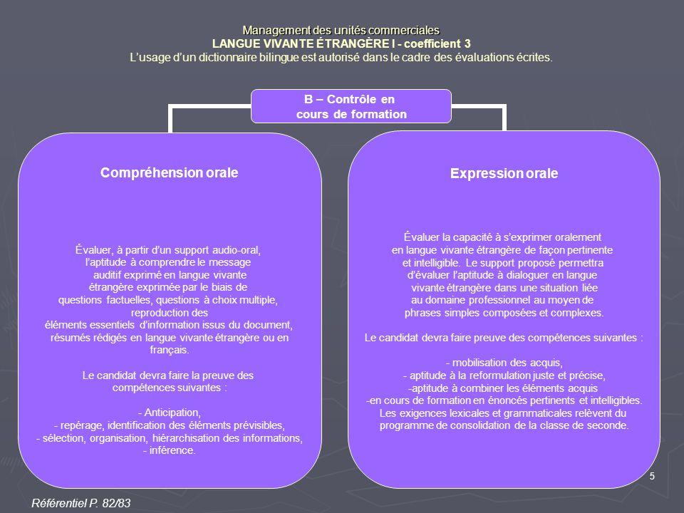 5 Management des unités commerciales Management des unités commerciales LANGUE VIVANTE ÉTRANGÈRE I - coefficient 3 L'usage d'un dictionnaire bilingue est autorisé dans le cadre des évaluations écrites.