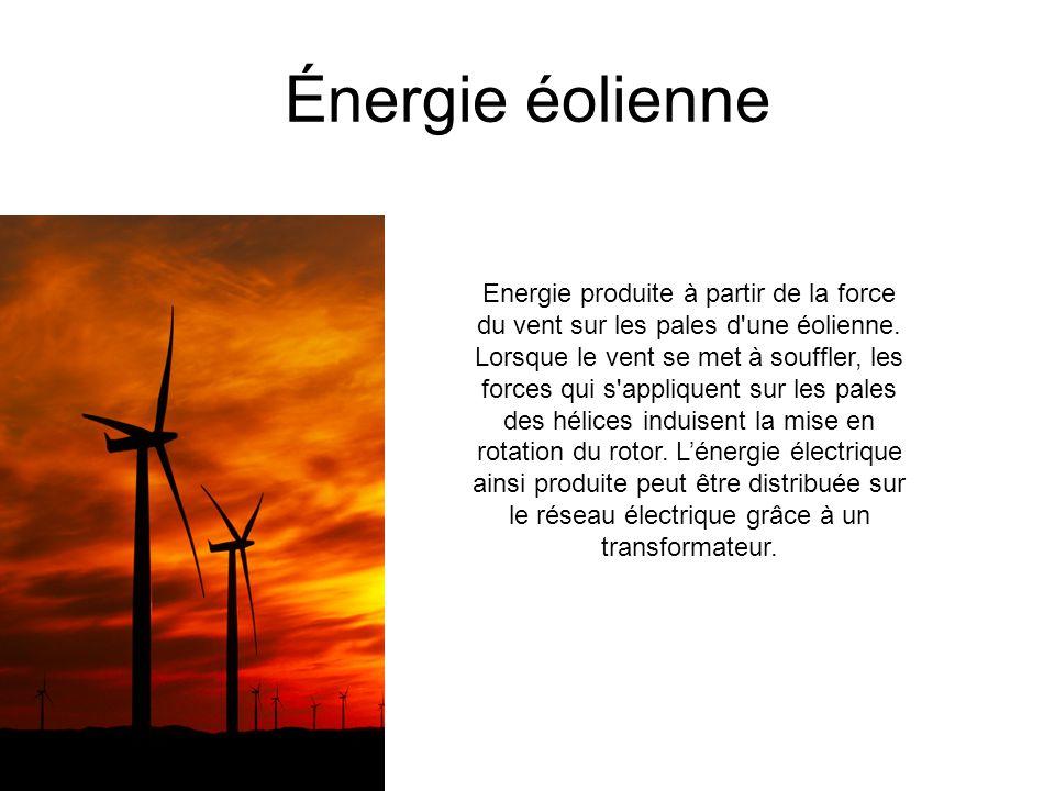 Énergie hydraulique L énergie hydroélectrique, ou hydroélectricité, est une énergie électrique obtenue par conversion de l énergie hydraulique des différents flux d eau.