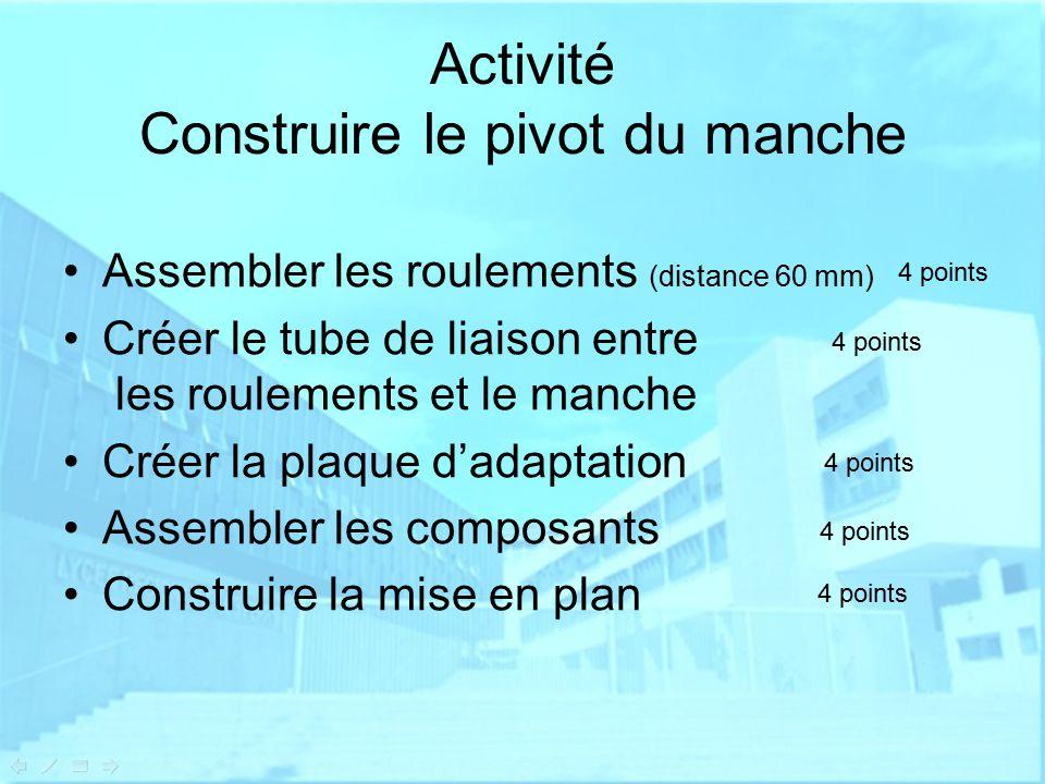 Activité Construire le pivot du manche Assembler les roulements (distance 60 mm) Créer le tube de liaison entre les roulements et le manche Créer la plaque d'adaptation Assembler les composants Construire la mise en plan 4 points