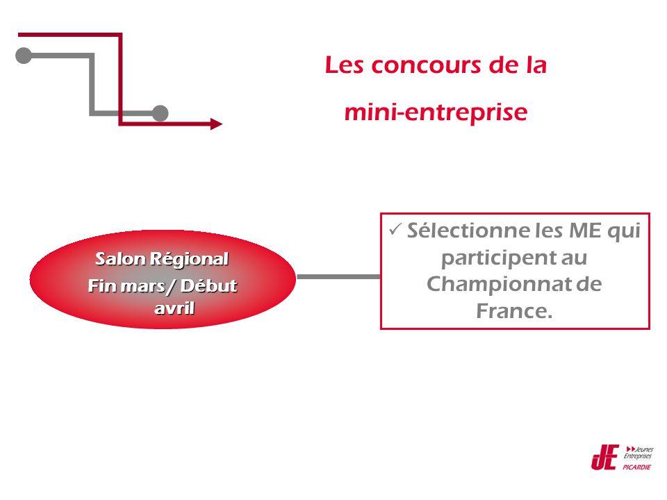 Les concours de la mini-entreprise Salon Régional Fin mars / Début avril  Sélectionne les ME qui participent au Championnat de France.