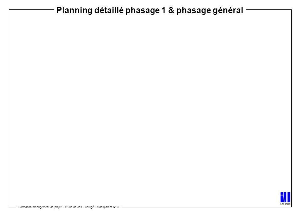 Formation management de projet – étude de cas – corrigé – transparent N° 3 Planning détaillé phasage 1 & phasage général