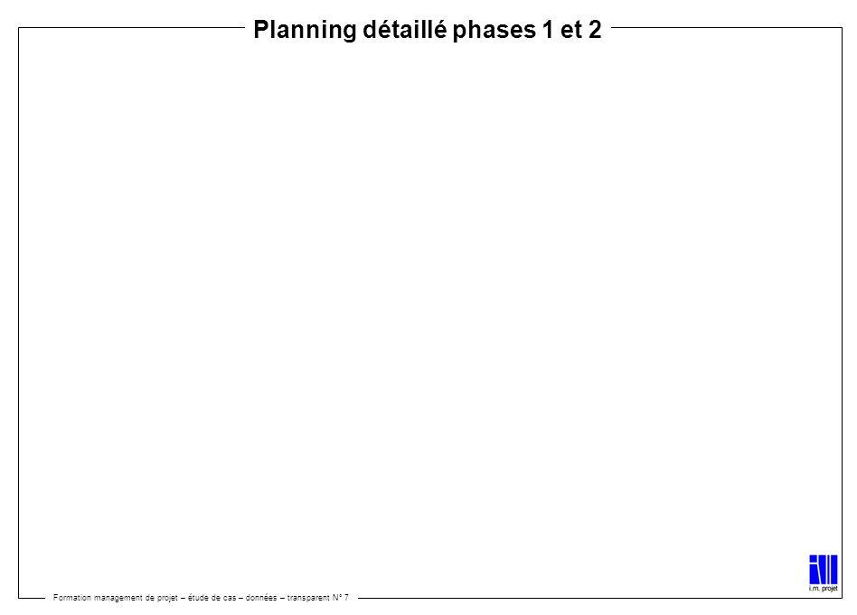 Formation management de projet – étude de cas – données – transparent N° 7 Planning détaillé phases 1 et 2