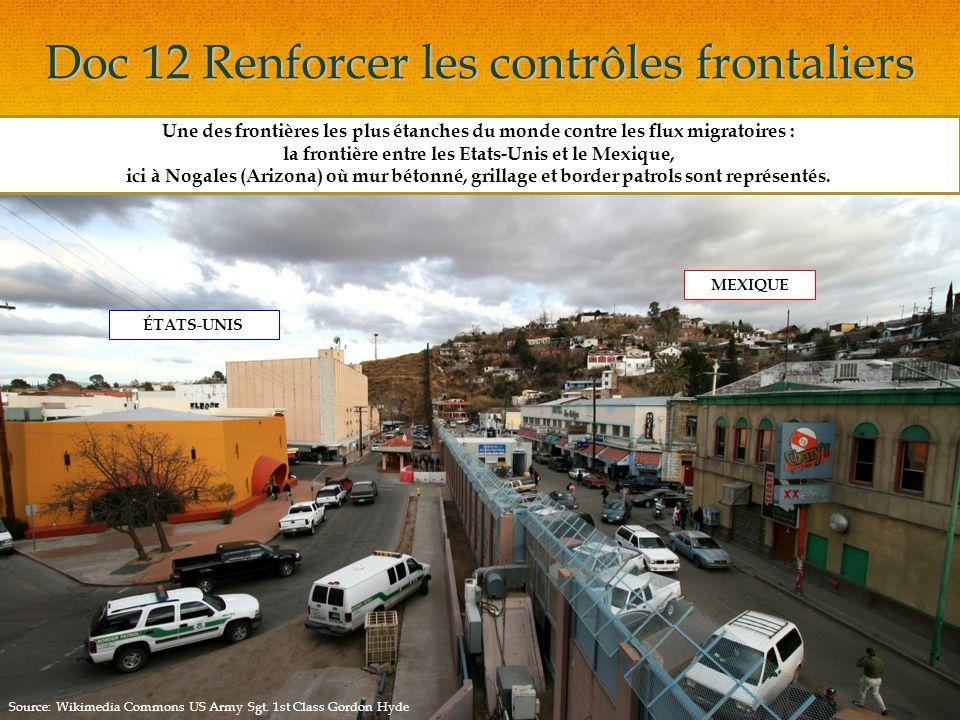 Doc 12 Renforcer les contrôles frontaliers Une des frontières les plus étanches du monde contre les flux migratoires : la frontière entre les Etats-Unis et le Mexique, ici à Nogales (Arizona) où mur bétonné, grillage et border patrols sont représentés.