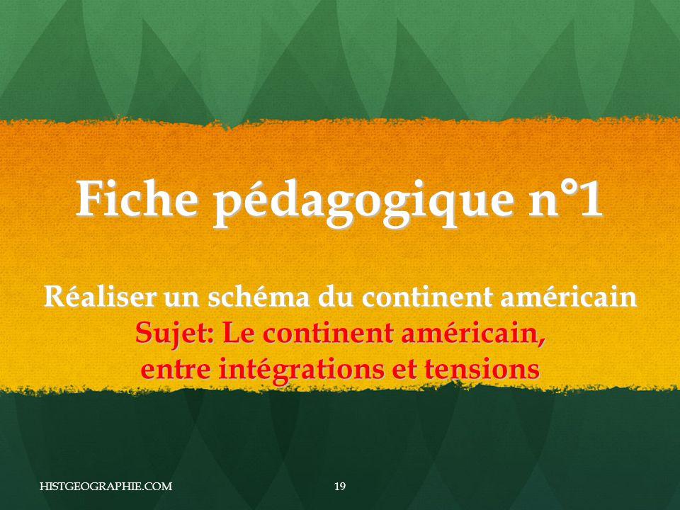 Fiche pédagogique n°1 Réaliser un schéma du continent américain Sujet: Le continent américain, entre intégrations et tensions HISTGEOGRAPHIE.COM19