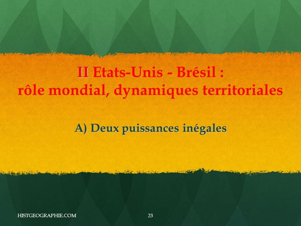 II II Etats-Unis - Brésil : rôle mondial, dynamiques territoriales A) Deux puissances inégales HISTGEOGRAPHIE.COM23