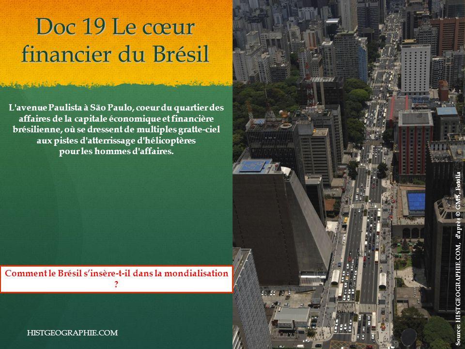 Doc 19 Le cœur financier du Brésil HISTGEOGRAPHIE.COM L avenue Paulista à São Paulo, coeur du quartier des affaires de la capitale économique et financière brésilienne, où se dressent de multiples gratte-ciel aux pistes d atterrissage d hélicoptères pour les hommes d affaires.
