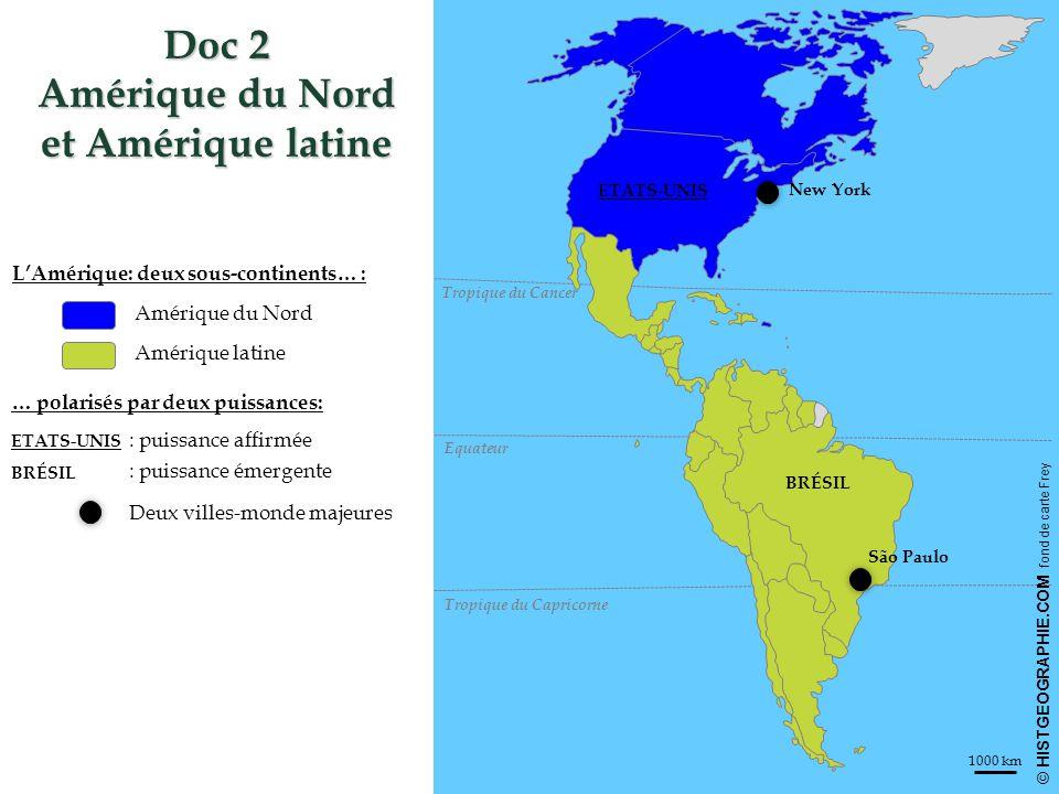 HISTGEOGRAPHIE.COM CHINE RUSSIE ÉTATS- UNIS MEXIQUE AFRIQUE DU SUD INDE UE Océan Pacifique Océan Indien Océan Antarctique Conseil de Sécurité de l'ONU FMI OMC Afrique Pays arabes Doc 14 Le Brésil, une puissance régionale à vocation mondiale 1) Une puissance régionale… a) … affirmée b) … contestée Un rôle majeur au sein du MERCOSUR Océan Atlantique Sao Paulo Porto Alegre ARGENTINE VENEZUELA Membre de l'UNASUR Etats-Unis : puissance dominante du continent américain Leadership contesté Pays d'Amérique latine contestant le néo-impérialisme brésilien 2) Une puissance émergente à vocation mondiale a) Devenir leader des Suds Rôle majeur au sein des BRICS b) Accroitre son action internationale Partenaire stratégique au sein de l'IBAS Aide publique au développement Principaux partenaires commerciaux Revendication d'un rôle majeur dans les organisations internationales Capitale politique Amazonie: patrimoine mondial Pôle de commandement majeur Pôle majeur de l'altermondialisme Minustah: opération de l'ONU sous commandement brésilien Source: P.