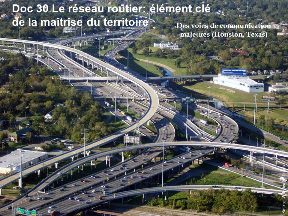 HISTGEOGRAPHIE.COM Doc 30 Le réseau routier: élément clé de la maîtrise du territoire Des voies de communication majeures (Houston, Texas) Source: Wikipedia Dhanix