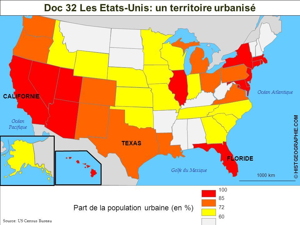 1000 km © HISTGEOGRAPHIE.COM Doc 32 Les Etats-Unis: un territoire urbanisé Part de la population urbaine (en %) 100 85 72 60 Océan Atlantique Océan Pacifique Golfe du Mexique Source: US Census Bureau HISTGEOGRAPHIE.COM44 TEXAS FLORIDE CALIFORNIE