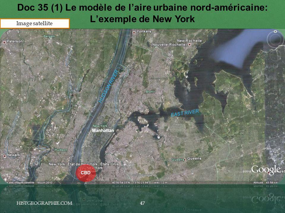 HISTGEOGRAPHIE.COM Doc 35 (1) Le modèle de l'aire urbaine nord-américaine: L'exemple de New York HUDSON RIVER EAST RIVER Manhattan CBD 47 Image satellite