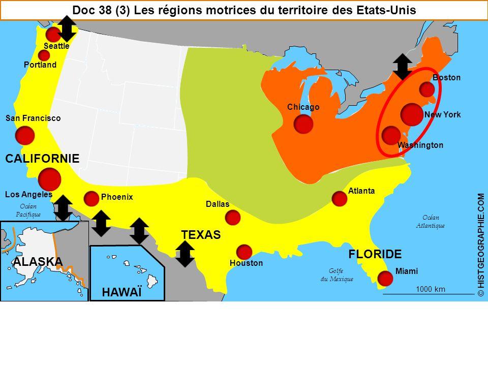 Chicago Doc 38 (3) Les régions motrices du territoire des Etats-Unis Washington New York Atlanta Houston San Francisco Los Angeles Portland Seattle TEXAS FLORIDE CALIFORNIE ALASKA HAWAÏ HISTGEOGRAPHIE.COM58 Boston 1000 km © HISTGEOGRAPHIE.COM Miami Phoenix Océan Atlantique Océan Pacifique Golfe du Mexique Dallas