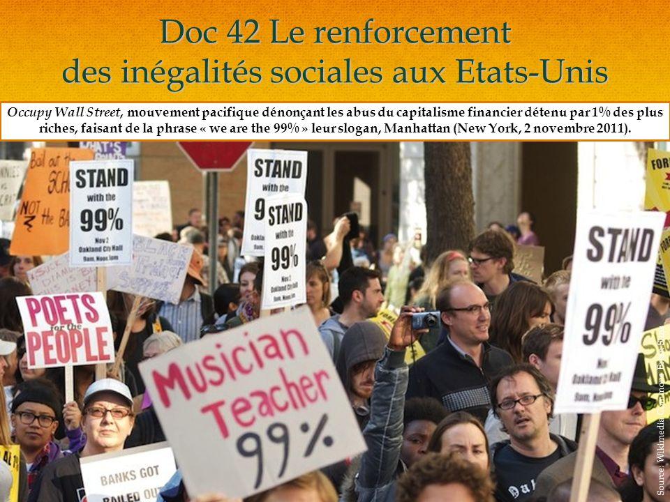 Doc 42 Le renforcement des inégalités sociales aux Etats-Unis Occupy Wall Street, mouvement pacifique dénonçant les abus du capitalisme financier détenu par 1% des plus riches, faisant de la phrase « we are the 99% » leur slogan, Manhattan (New York, 2 novembre 2011).