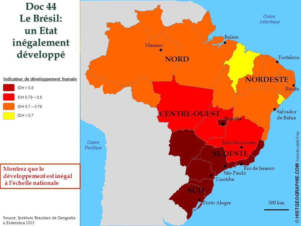 500 km © HISTGEOGRAPHIE.COM fond de carte Frey Doc 44 Le Brésil: un Etat inégalement développé HISTGEOGRAPHIE.COM Indicateur de développement humain IDH > 0,8 IDH 0,78 – 0,8 IDH 0,7 – 0,78 IDH < 0,7 Brasilia Rio de Janeiro São Paulo Curitiba Porto Alegre Belo Horizonte Salvador de Bahia Recife Fortaleza Belém Manaus Océan Atlantique Océan Pacifique Source: Instituto Brasilero de Geografia e Estatistica 2013 NORD CENTRE-OUEST NORDESTE SUDESTE SUD Montrez que le développement est inégal à l'échelle nationale