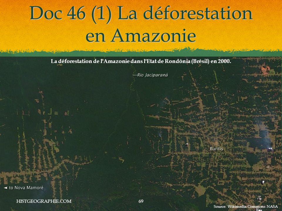 Doc 46 (1) La déforestation en Amazonie HISTGEOGRAPHIE.COM69 La déforestation de l Amazonie dans l Etat de Rondônia (Brésil) en 2000.