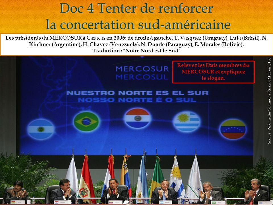 Doc 4 Tenter de renforcer la concertation sud-américaine Les présidents du MERCOSUR à Caracas en 2006: de droite à gauche, T.