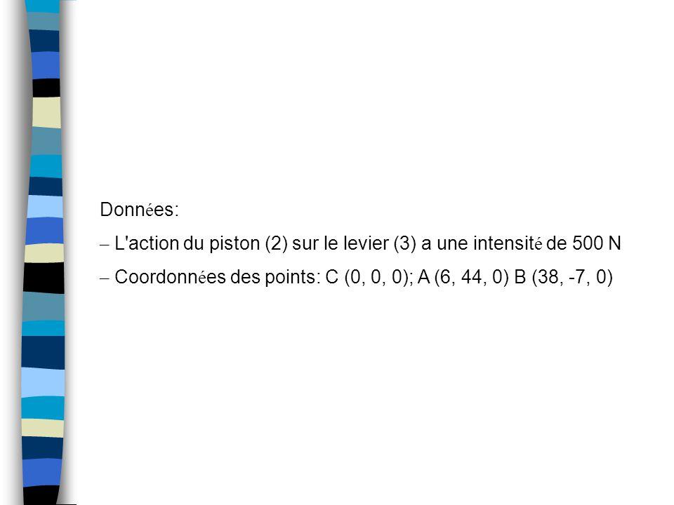 Donn é es: – L action du piston (2) sur le levier (3) a une intensit é de 500 N – Coordonn é es des points: C (0, 0, 0); A (6, 44, 0) B (38, -7, 0)
