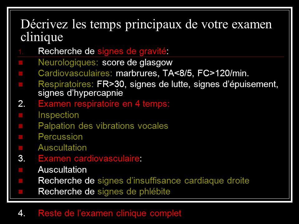 Décrivez les temps principaux de votre examen clinique 1.