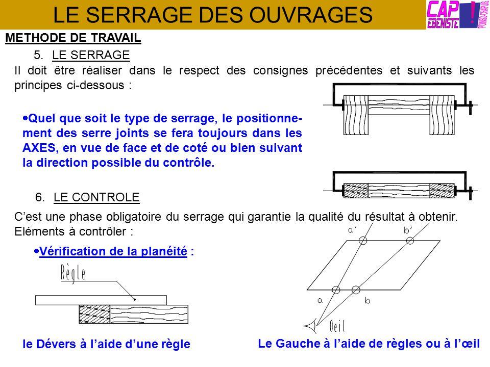 LE SERRAGE DES OUVRAGES METHODE DE TRAVAIL 6.LE CONTROLE C'est une phase obligatoire du serrage qui garantie la qualité du résultat à obtenir.
