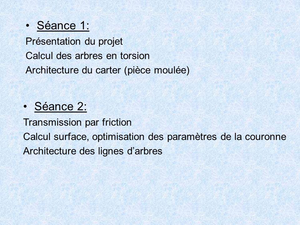 Dimensions et nombre de disques Effort axial sur les disques Calcul des cannelures Dimension de l'arbre en tenant compte des concentrations de contrainte (clavette, cannelure).