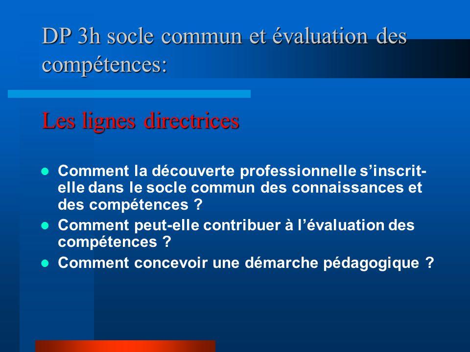 DP 3h socle commun et évaluation des compétences: Les lignes directrices Comment la découverte professionnelle s'inscrit- elle dans le socle commun des connaissances et des compétences .