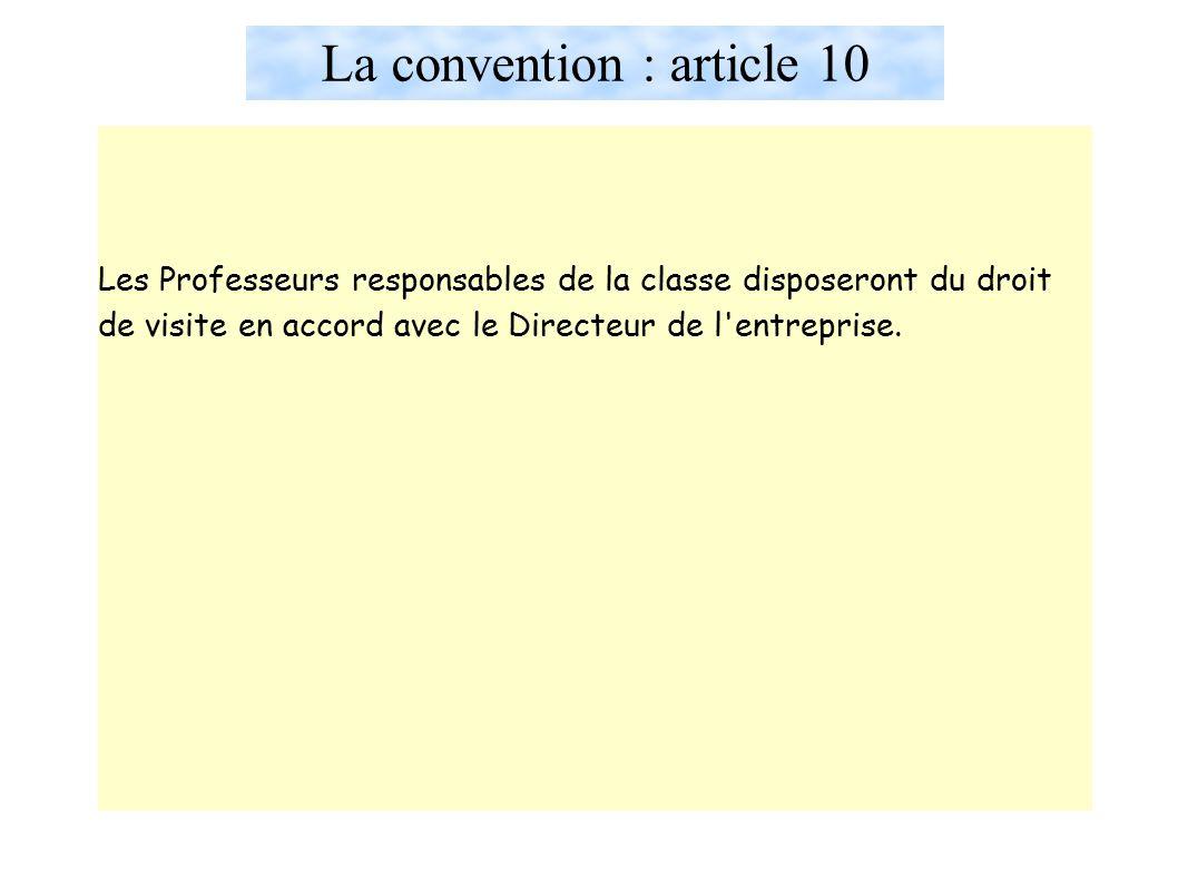 La convention : article 10 Les Professeurs responsables de la classe disposeront du droit de visite en accord avec le Directeur de l entreprise.