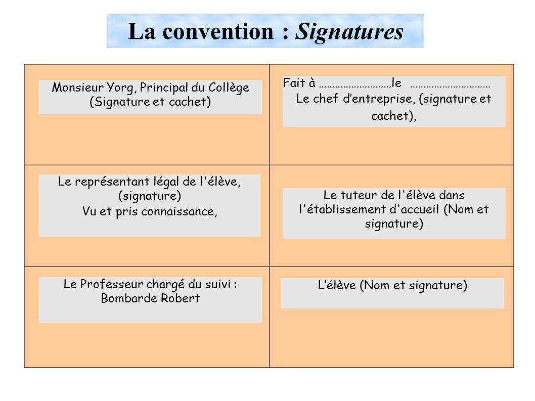 La convention : Signatures Monsieur Yorg, Principal du Collège (Signature et cachet) Le représentant légal de l élève, (signature) Vu et pris connaissance, Le Professeur chargé du suivi : Bombarde Robert Fait à ………………………le ………………………… Le chef d'entreprise, (signature et cachet), Le tuteur de l élève dans l établissement d accueil (Nom et signature) L'élève (Nom et signature)