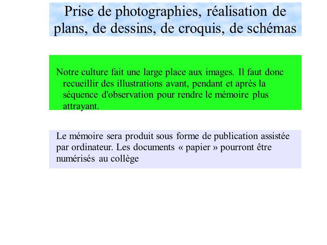 Prise de photographies, réalisation de plans, de dessins, de croquis, de schémas Le mémoire sera produit sous forme de publication assistée par ordinateur.