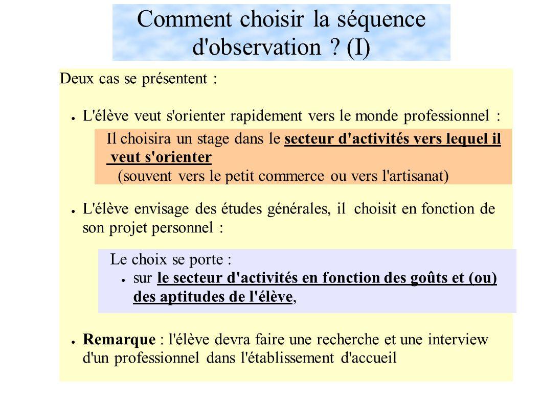 Comment choisir la séquence d observation .