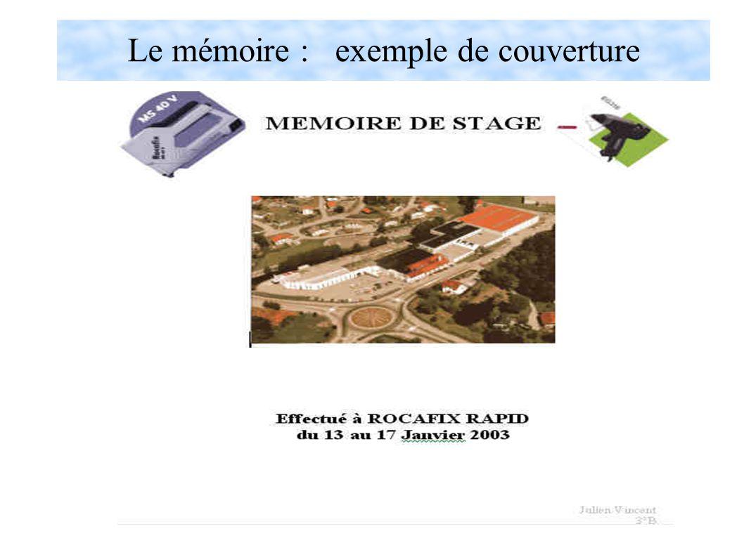Le mémoire : exemple de couverture