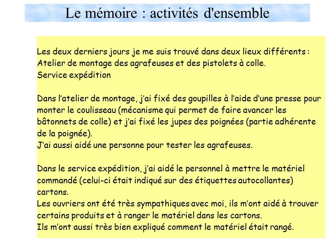 Le mémoire : activités d ensemble Pendant ce stage en entreprise j'ai participé à plusieurs activités dans les trois lieux où je me suis trouvé.
