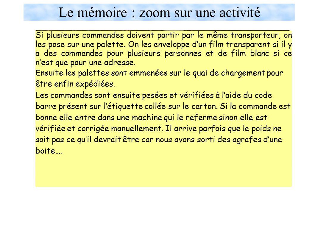 Le mémoire : zoom sur une activité Le service expédition : Dans ce service, le personnel est chargé de préparer les commandes reçues.