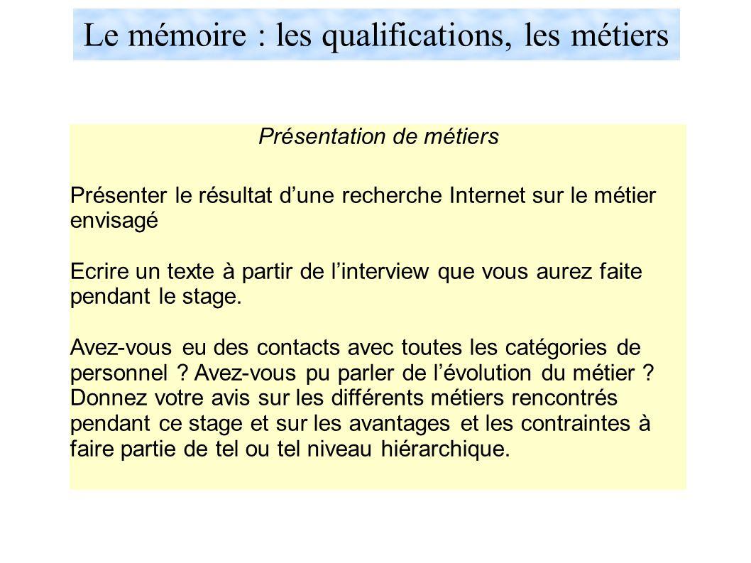 Le mémoire : les qualifications, les métiers Présentation de métiers Présenter le résultat d'une recherche Internet sur le métier envisagé Ecrire un texte à partir de l'interview que vous aurez faite pendant le stage.