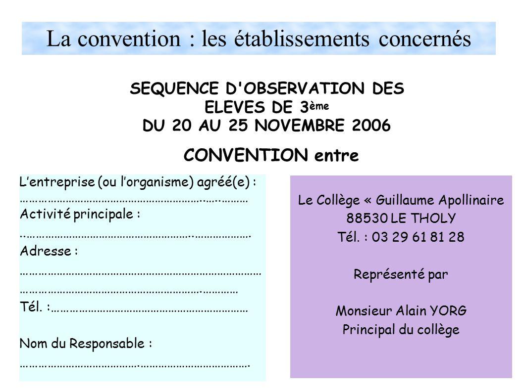 La convention : les établissements concernés SEQUENCE D OBSERVATION DES ELEVES DE 3 ème DU 20 AU 25 NOVEMBRE 2006 L'entreprise (ou l'organisme) agréé(e) : ……………………………………………………..…..……… Activité principale :..………………………………………………..……………….
