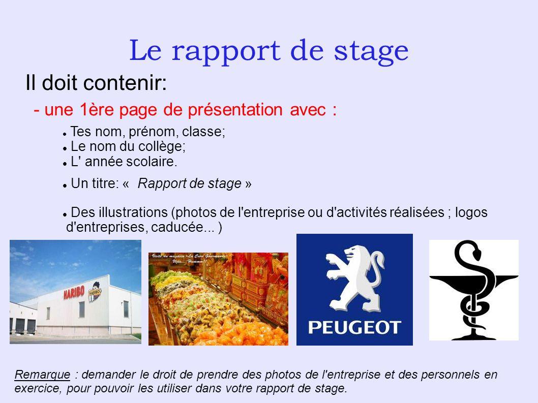 Le rapport de stage Il doit contenir: - une 1ère page de présentation avec : Tes nom, prénom, classe; Le nom du collège; L' année scolaire. Un titre: