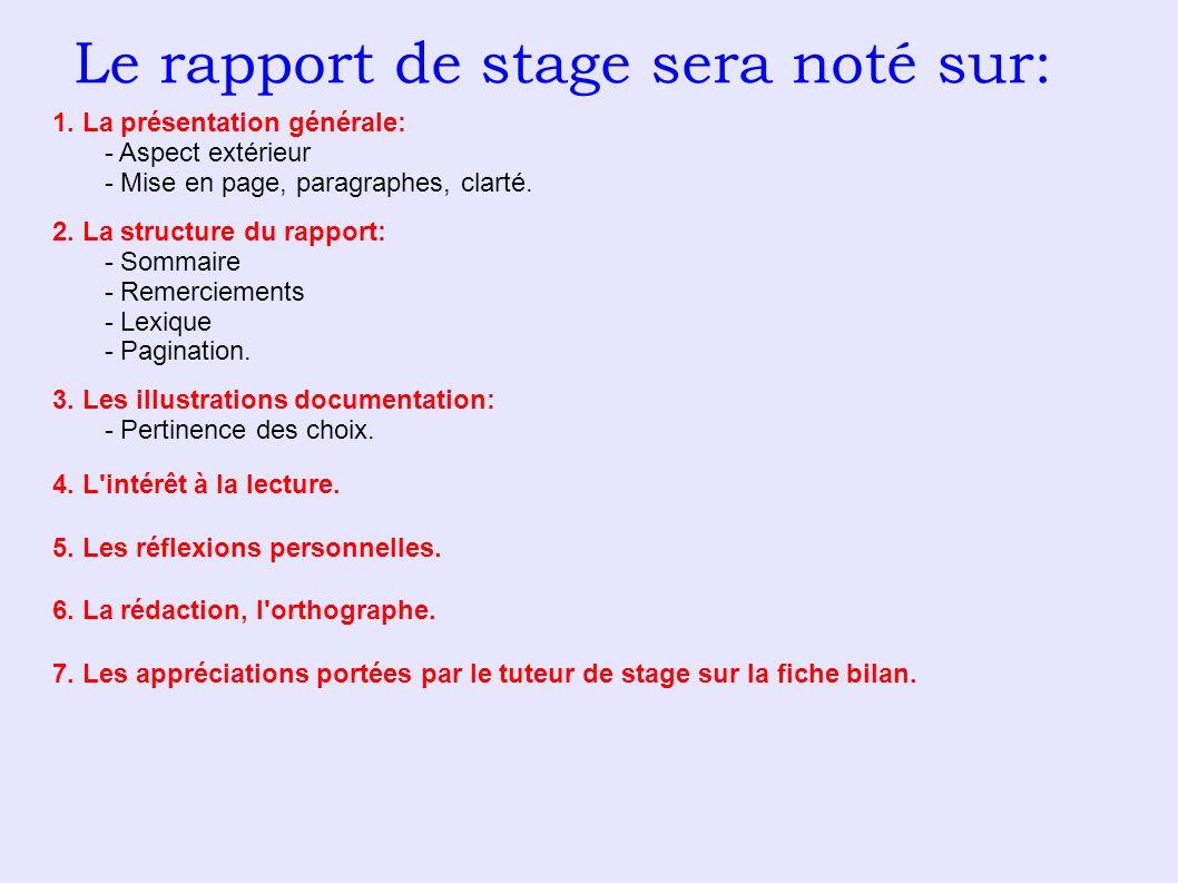 Le rapport de stage sera noté sur: 1. La présentation générale: - Aspect extérieur - Mise en page, paragraphes, clarté. 2. La structure du rapport: -