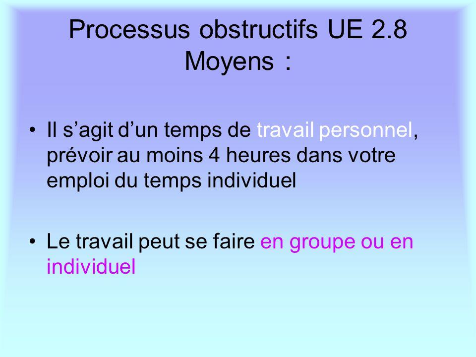 Processus obstructifs UE 2.8 Moyens : Il s'agit d'un temps de travail personnel, prévoir au moins 4 heures dans votre emploi du temps individuel Le tr