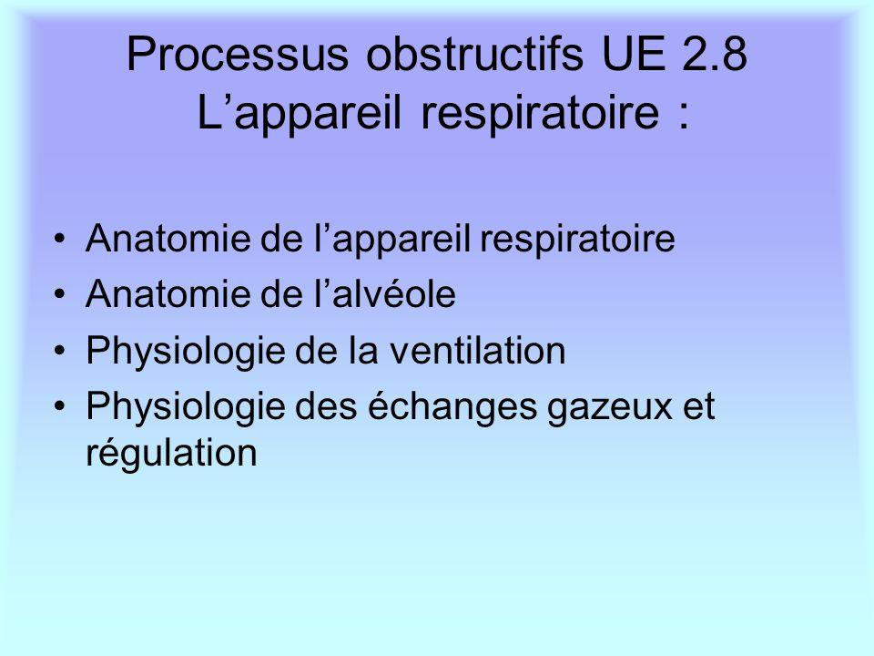Processus obstructifs UE 2.8 L'appareil respiratoire : Anatomie de l'appareil respiratoire Anatomie de l'alvéole Physiologie de la ventilation Physiol