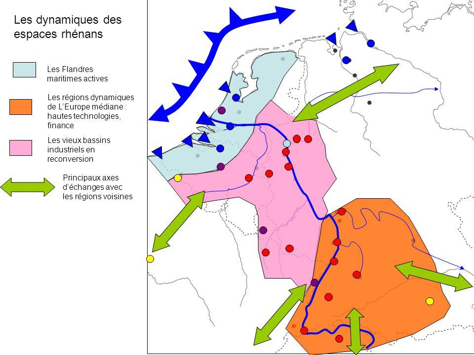 Les dynamiques des espaces rhénans Les Flandres maritimes actives Les régions dynamiques de L'Europe médiane : hautes technologies, finance Les vieux bassins industriels en reconversion Principaux axes d'échanges avec les régions voisines