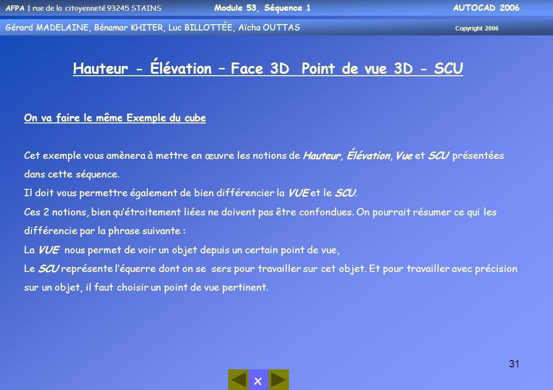 AFPA 1 rue de la citoyenneté 93245 STAINS Module 53, Séquence 1 AUTOCAD 2006 Gérard MADELAINE, Bénamar KHITER, Aicha OUUTAS Copyright 2006 Gérard MADE