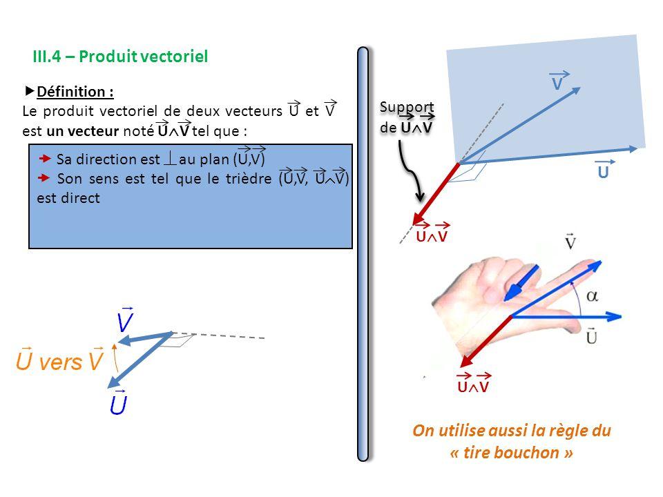 III.4 – Produit vectoriel  Définition : Le produit vectoriel de deux vecteurs U et V est un vecteur noté U  V tel que : V U UVUV  Sa direction est au plan (U,V)  Son sens est tel que le trièdre (U,V, U  V) est direct UVUV On utilise aussi la règle du « tire bouchon »