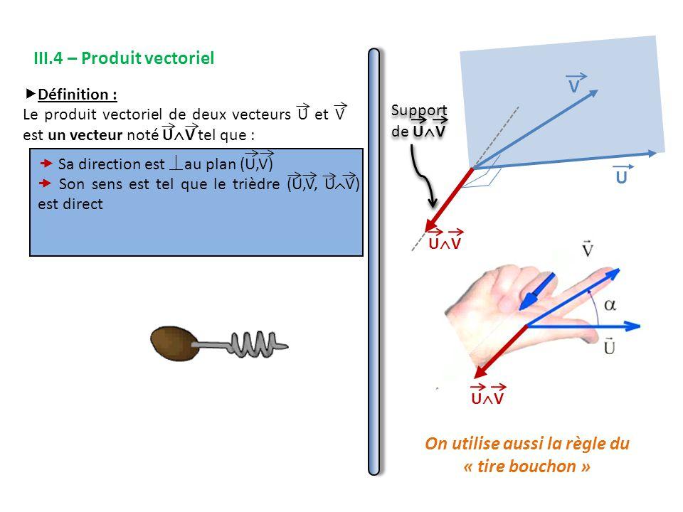 III.4 – Produit vectoriel  Définition : Le produit vectoriel de deux vecteurs U et V est un vecteur noté U  V tel que :  Sa direction est au plan (U,V)  Son sens est tel que le trièdre (U,V, U  V) est direct V U UVUV UVUV On utilise aussi la règle du « tire bouchon »