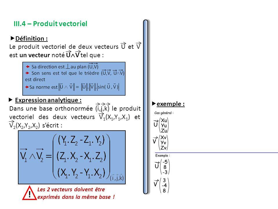 III.4 – Produit vectoriel  Expression analytique : Dans une base orthonormée (i,j,k) le produit vectoriel des deux vecteurs V 1 (X 1,Y 1,X 1 ) et V 2 (X 2,Y 2,X 2 ) s'écrit : Les 2 vecteurs doivent être exprimés dans la même base .
