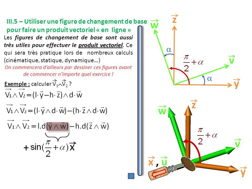 y z v w   x, u y v w z x + Exemple : calculer V 1  V 2 .