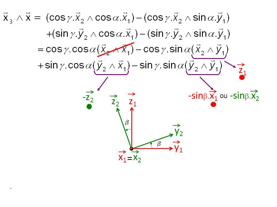 z1z1 y1y1 z2z2 y2y2 = x2x2 x1x1   z1z1 -z 2 -sin . x 1 ou -sin . x 2